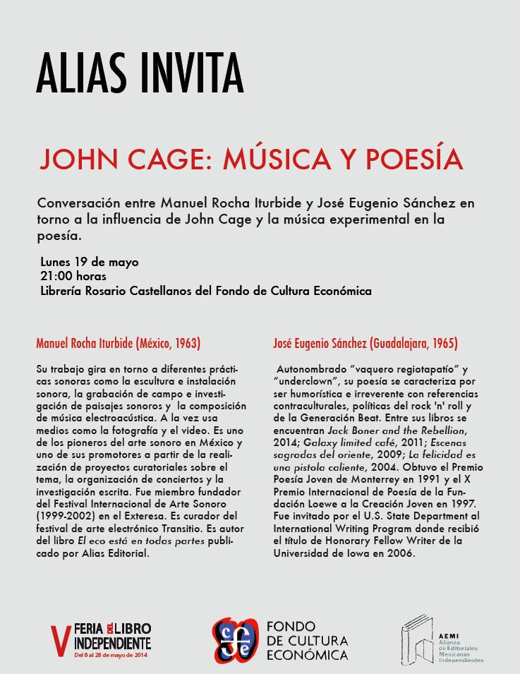 John Cage: música y poesía, una conversación entre Manuel Rocha Iturbide y José Eugenio Sánchez en la V Feria del Libro Independiente
