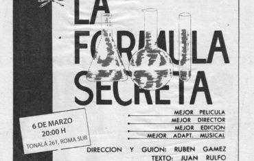 Proyección especial del filme La fórmula secreta (Rubén Gámez, 1964)
