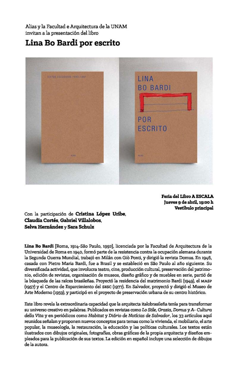 Presentación del libro Lina Bo Bardi por escrito en la Feria del Libro A ESCALA