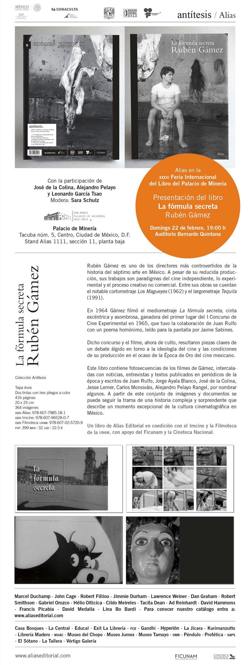 """Presentación del libro """"La fórmula secreta. Rubén Gámez"""" en la XXXVI Feria Internacional del Libro del Palacio de Minería"""